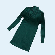 2017 New Girls Knitted Dress Longsleeve Sweater Pullover Dress Big Child Solid Colors Striped Kids Dress Winter Autumn