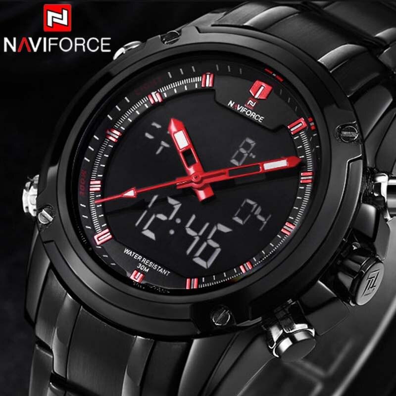 2017 Luxury Brand NAVIFORCE Men Military Sports Watches Men Quartz LED Digital Hour Clock Relogio Masculino Free for Regulator<br><br>Aliexpress