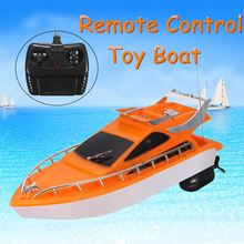 Mini RC Boats Plastic Electric Remote Control Speed Boat Kid Chirdren Toy Orange color 26x7.5x9cm