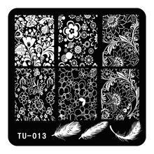 Nail Stamping Plates Stamp Nail Art Template Manicure Tools Small Wild Flowers and Feather Design Template for Lady TU-013