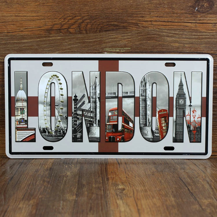 "Live Wall Art vintage home decorTin signs ""LONDON ""metal paintingbar decor wall art craft License Plate15X30CM Free shipping(China (Mainland))"