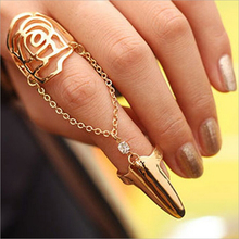 2015 New Hot Fashion Fine Jewelry Pierced Rose Conjoined Personality Geometry Tassel Rhinestone Fingernail Rings For Women R-71