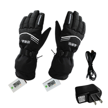 Waterproof USB Rechargable Electric Heating Gloves Winter Sledge Battery Heated Gloves Motorcycle Ski Gloves Men Women(China)