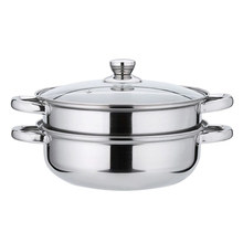 Stainless Steel Pot Glass Cover Double Steamer Stock Cooking Pot Inox 27.5cm Stock Pot Stainless Steel Cookware EZLIFE JK0933