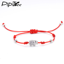 Red String Charm Crystal Elephant Bracelets & Bangles for Women Girls Kids Simple Round Beads Braiding Macrame Bracelet Jewelry