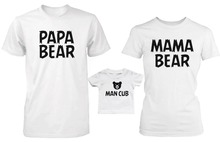 2017 Dad Mom & Child Matching T Shirt Latest Style White Summer Basic Clothes PAPA BEAR & MAMA BEAR & MAN CUB Printed Tee Shirt