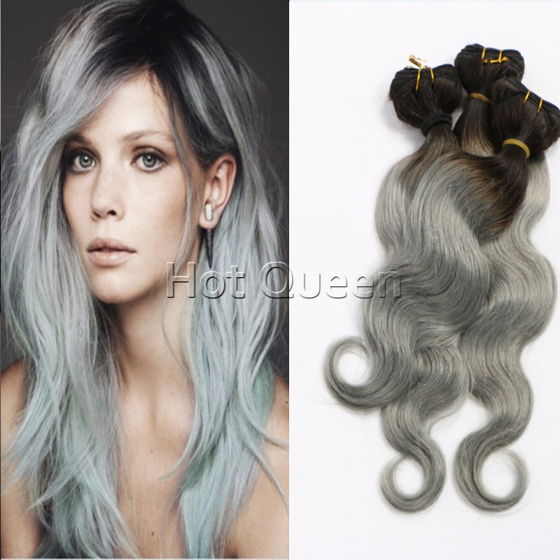European Body Wave Grey Hair Weave 3pcs Hair Bundles Silver Ombre Hair Extensions 1b/50 Hair Bundle<br><br>Aliexpress