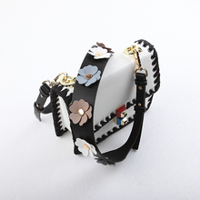 Strap you Flower women bag strap with leather Female bag part Female handbag accessories Gifts bel Gold and silver(China)