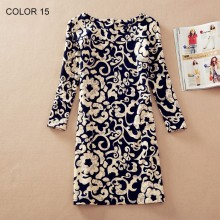 Women Clothing Spring Flower Print O-Neck Women Dress Ladies Long Sleeve Casual Fashion Autumn Dresses Vestidos 129-15