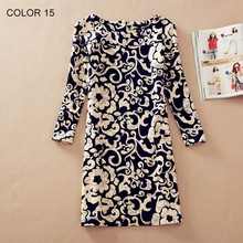 Women Clothing Spring Flower Print O-Neck Women Dress Ladies Long Sleeve Casual Fashion Autumn Dresses Vestidos 129-15(China)