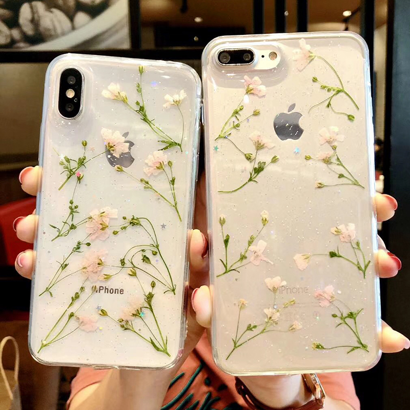 Clear Phone Cases For iPhone X Fashion Real Dried Flower Cases For iphone 6 6S 7 Plus Floral Back Cover For iPhone 8 Plus Fundas (4)