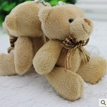 12CM=4.7Inch Ribbon Bow Tie Brown Little MiNi Teddy Bear wedding bouquet accessories toy Bear Keychain