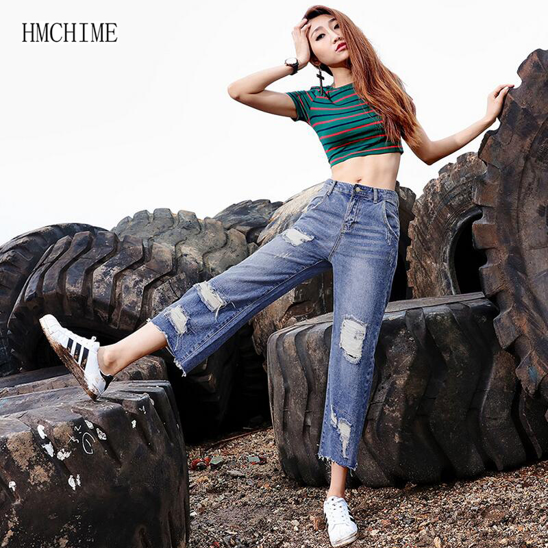 Korean style women cotton calf length jeans plus size loose fashion sexy hole ripped zippers boyfriend denim wide leg pants D38Одежда и ак�е��уары<br><br><br>Aliexpress