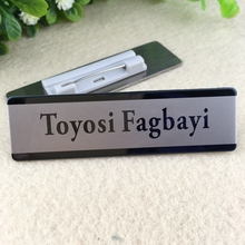 5pcs custom 70X20mm name tag magnet badge laser tag stainless steel plate personalized name tag