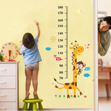 Kids Height Wall Sticker for Children Room Boys Girls Height Ruler Wall Decal Nursery Bedroom Decor Forest Animals Poster Mural(China)