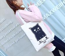 1 piece Cute Striped Cat clock egg Canvas Handbag Eco Daily Single Shoulder Shopping Tote Beach Bag(China)