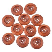 FUNIQUE 50PCs Wholesale Buttons Coffee 4 Holes Wooden Buttons Sewing Buttons Scrapbooking Hand Tool Craft Supplies 30mm Round(China)