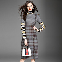 Office Lady Knitted Jumper Dress Sweater Dress Preppy Turtleneck Retro Plaid Color Midi Ladies Sweat Dress Slip Dress FT387(China)