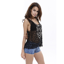 Hot Sale Summer beach Sleeveless lace Crochet T Shirts Bling Women Tshirt Lady Lace Camis Vest Singlets Crop Tops T shirt
