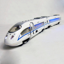 1/87 train model diecast Hexie CRH Chinese Railway High Speed Train pull back train head /body connected w light boys toys gift
