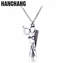 Fashion Stylist Jewelry Barber Pole Hair Dresser Barber Pole Comb Scissors Pendant Necklace Metal Hip Hop Necklace Barber Gifts