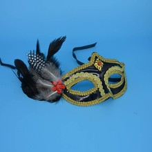 2018 Woman Lady Girls Charm Feather Mask Masquerade Mardi Gras Ball Party Mask Party Dress Supplies Christmas New Year(China)