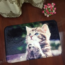 Fashion Polyester Floor Mats Animal Cute Cat Dog Print Bathroom Kitchen Carpet House Doormats for Living Room Anti-Slip Rug