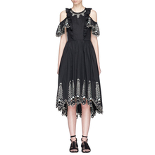 style retro clothing embroidery black vintage dresses 2017 o-neck cut out off shoulder a-line high low womens midi dresses sale(China)