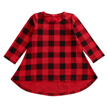 New Fashion Children Girls Dress Casual Cotton Long Sleeve Dress Spring Autumn Kids Toddler Baby Plaid Casual Dresses(China)