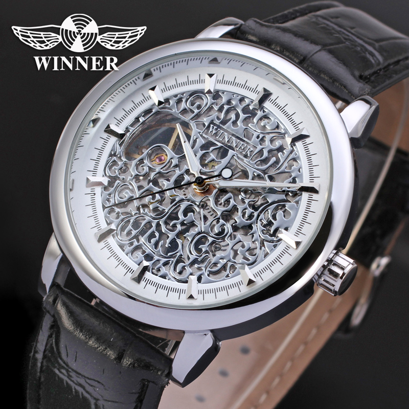 Fashion WINNER Men Luxury Brand Classic Skeleton Leather Strap Watch Automatic Mechanical Wristwatches Gift Box Relogio Releges<br><br>Aliexpress