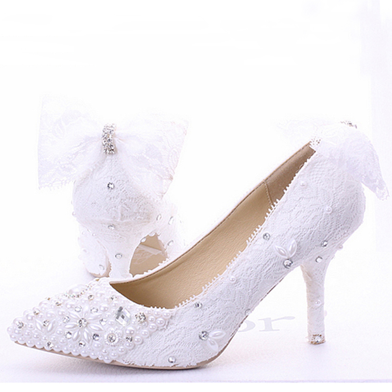 2016 New Hot Sale Lace Custom Made High Heel Popular Formal Shoes Pumps Bridal Shoes Ladies Evening Party Shoes Pumps<br><br>Aliexpress