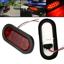 1x RED 6 Oval LED 10 Diode Tail Stop Light w/grommet & plug Truck Trailer RV fe9
