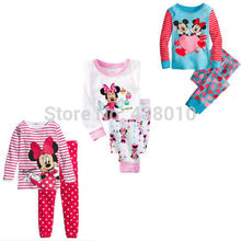 Children boys girls kids Clothing Sets Minnie Mouse suits 2 pcs sleepwear long sleeve cartoon pajamas