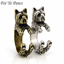 Drop Shipping Vintage Yorkshire Terrier Ring Anel Boho Chic Yorkie Dog Rings For Women Men Jewelry Best Friend One Piece