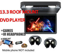 "13.3"" HD 1080p Car Roof Mount DVD Player Flip Down Monitor Screen with HDMI port LED light Van Bus 24V 12V, 2 IR headphones"