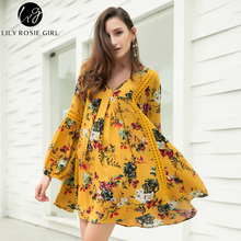 Lily Rosie Girl Boho Yellow Floral Print V Neck Women Dress Lantern Long Sleeve Spring Loose Dresses Hollow Out Vintage Vestidos