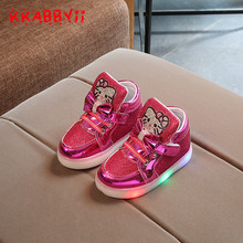 KKABBYII New Kids Shoes Kitty Cat Diamond Princess Girls Sports Shoes Autumn Winter Cartoon LED Sneakers Korean Children Boots(China)