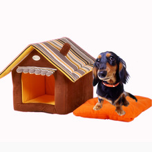 Cute Pet Cat Dog House Novelty Soft Dog Puppy Kennel Bed Cat Home Lovely Removable Dog Sleeping Bag Cama Perro Dog Bed House(China)