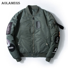 Aolamegs Bomber Jacket Badge Logo Number Men's Jacket Stand Collar Hip Hop Fashion Outwear Autumn Men Coat Bomb Baseball Jackets(China)