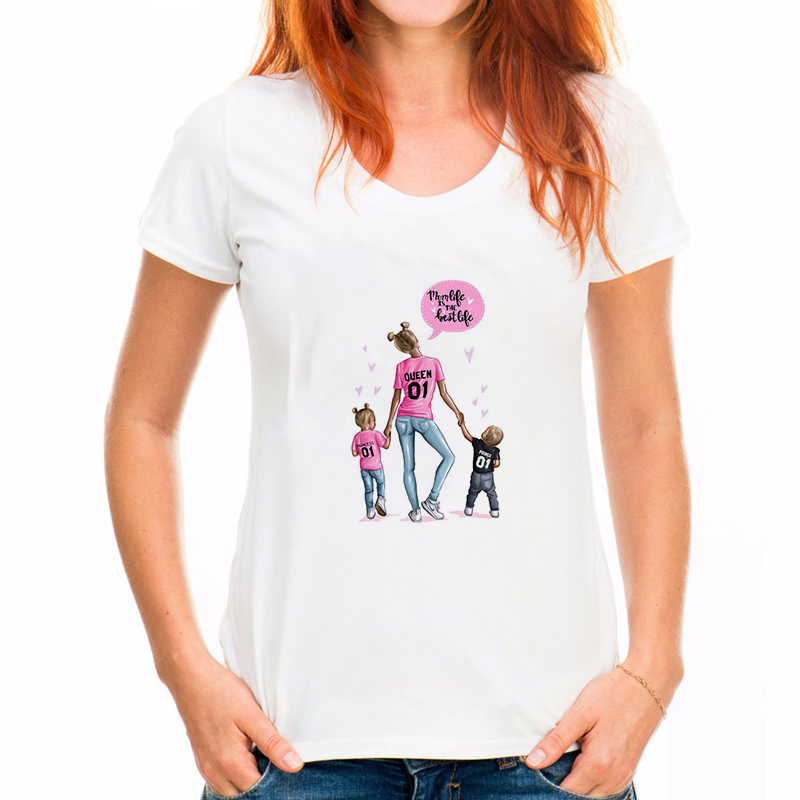 Streetwear Harajuku Super Mom Print White Tshirt Mama Baby T-shirts For Women Mom And Son Print Tee Shirt Femme O-neck Vogue top