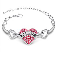 Trendy New Friendship Bracelet Jewelry Handmade Words BEST FRIEND Heart Silver Bracelet For Women Best Friend