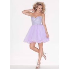 Vestidos de Festa Custom Made Lavender Tulle Sweetheart A Line Beading Top Above Knee Cocktail Dresses Party Gowns