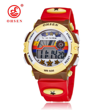 Top sale 2016 OHSEN brand digital quartz Wrist watch kids girls 50M waterproof Red silicone strap LCD back light alarm clock(China)