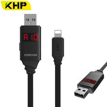 KHP Timing Control LCD Display USB Cable For iPhone 5 6 5S 6S 7 Plus Micro USB Cable Android Current Voltage Monitoring Charging