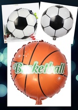 5pcs 18inch Round soccer ballon Football balloons Basketball ballons helium inflatable sports balls Birthday Party decor gifts