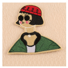 1 PCs Cool Sunglass Lady Patches Iron On Embroidered Patch For Clothing Stick On Badge Paste For Clothes Sew On Bag Pants(China)
