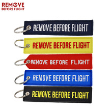 5PCS Remove Before Flight Keychain Luggage Safety Tag Label Embroidery OEM Key Ring Chains Motorcycles Key Fobs Aviation Gifts(China)