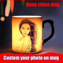 Drop shipping DIY Photo Magic Color Changing Coffee Mug  custom your photo on Tea cup Black Bone china mugs 11OZ