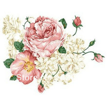 QZ427 Free Shipping 1Pcs Aestheticism Big White Pink Flower Green Leaf  Wedding Room Removable PVC Wall Stickers Decoration Gift
