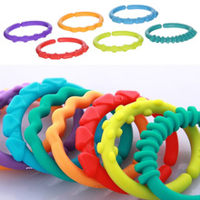24Pcs/set Pram Stroller Hook Baby Teether Teething Colorful Rainbow Ring Crib Bed Stroller Hanging Toys Gift Kids Accessories